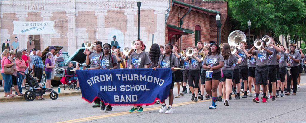 Strom Thurmond High School Marching Band in the Peach Blossom Festival Parade